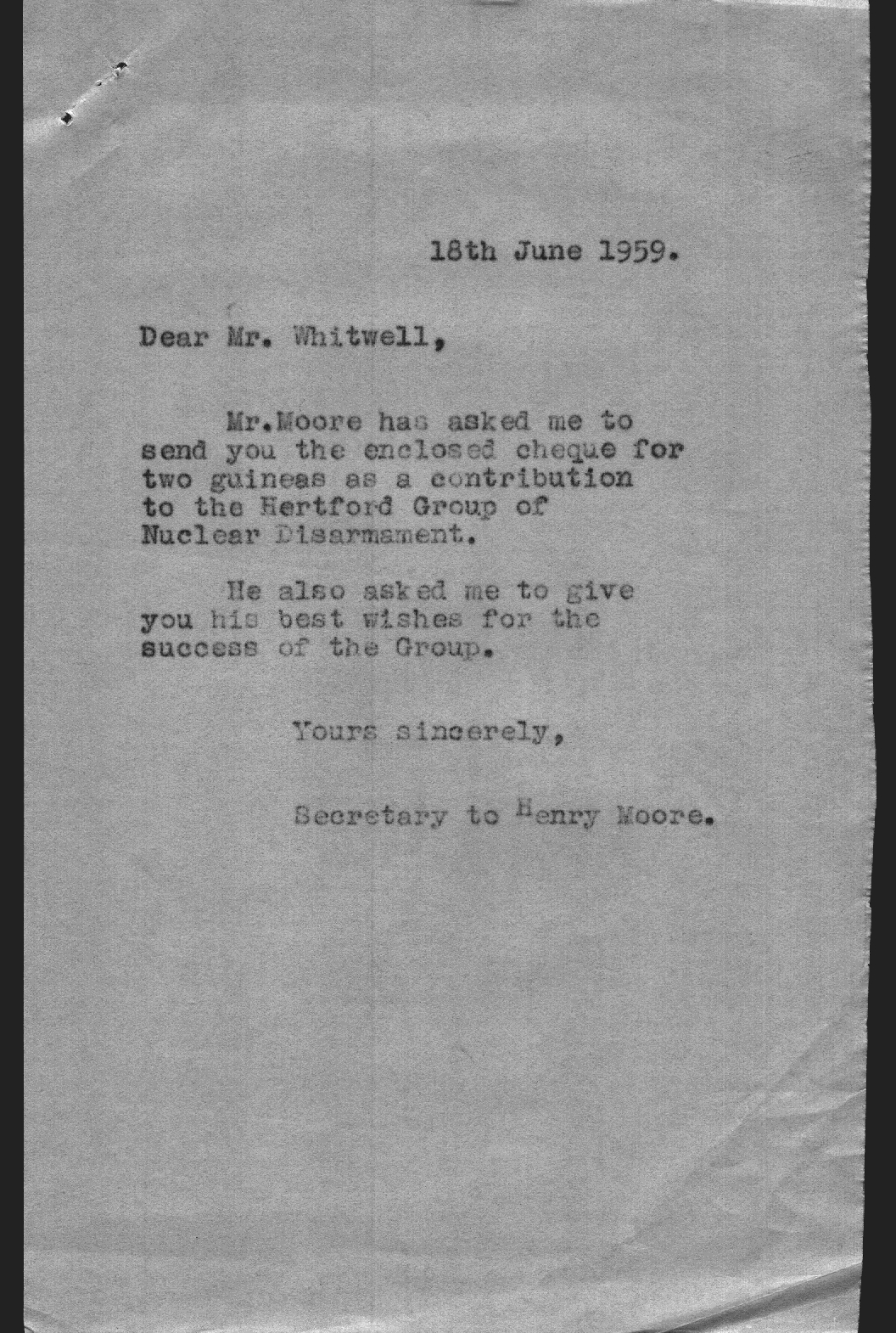 Letter sent on 18 June 1959 detailing Moore's donation to the Hertford Group of Nuclear Disarmament.