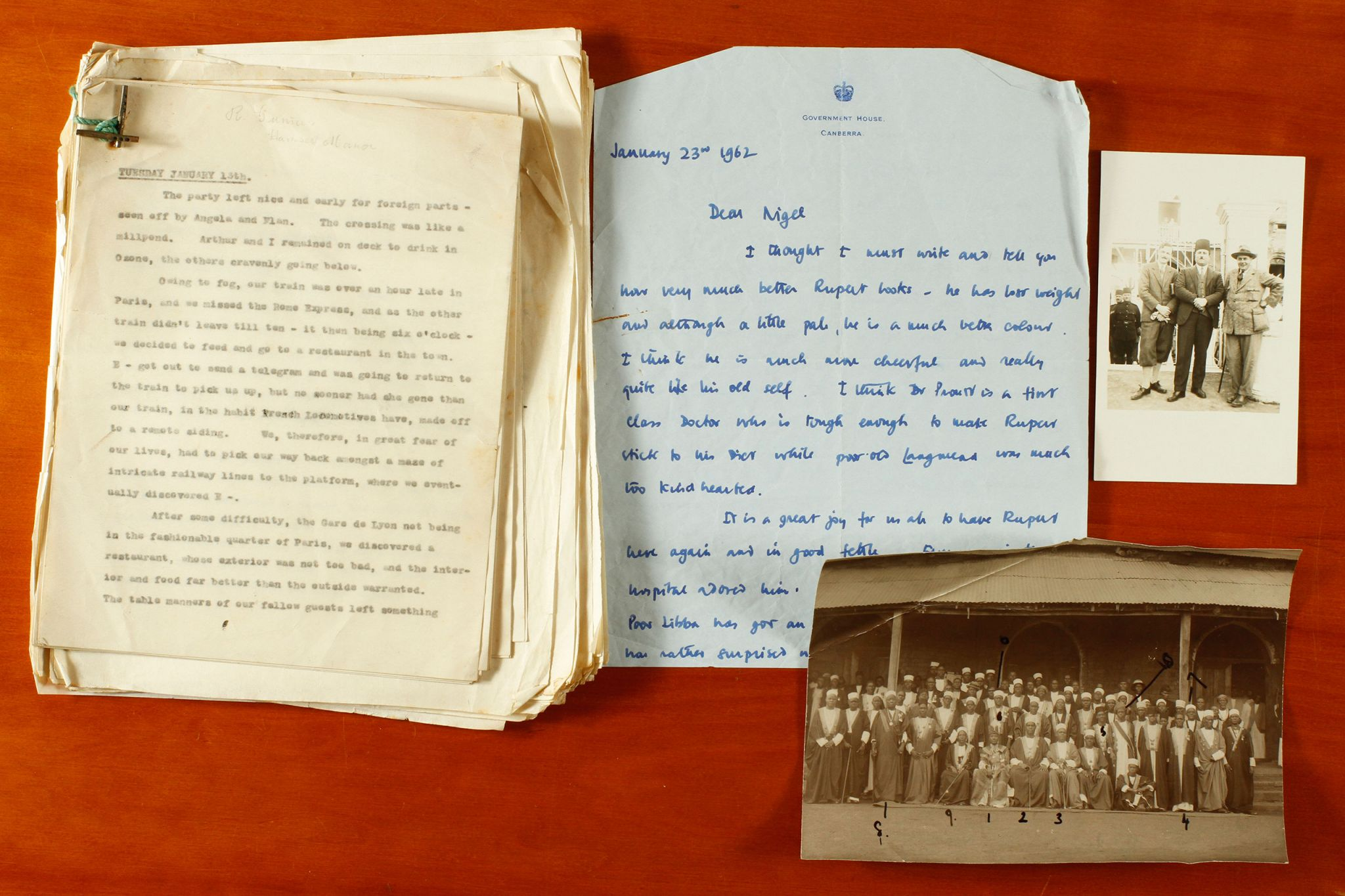 Selection of material from the Rupert Gunnis archive, including notes written by Gunnis; a letter written by Rupert Gunnis to his brother Nigel; a photograph of Gunnis used as a postcard; and an annoted photograph, 'The Four Kings'