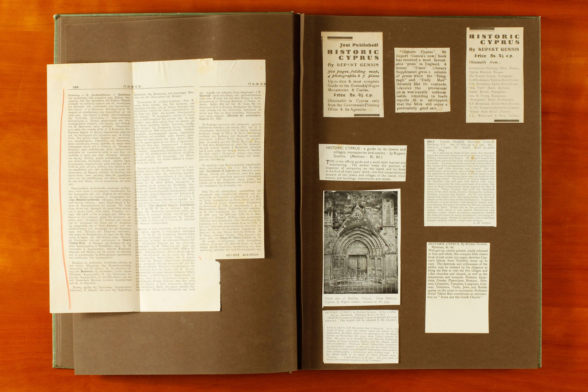 A page from Rupert Gunnis' scrapbook 'Historic Cyprus' showing press cuttings related to sculpture