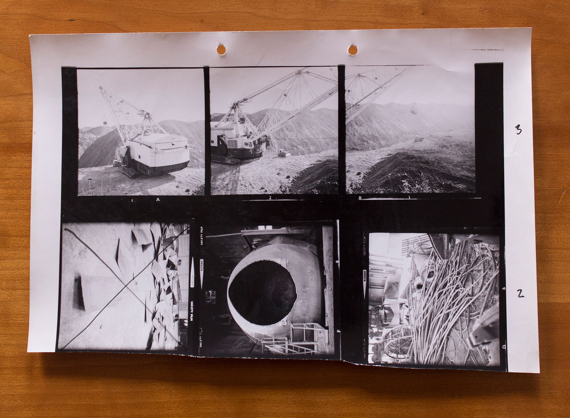 Contact sheet of photos taken by Garth Evans during his British Steel Corporation Fellowship