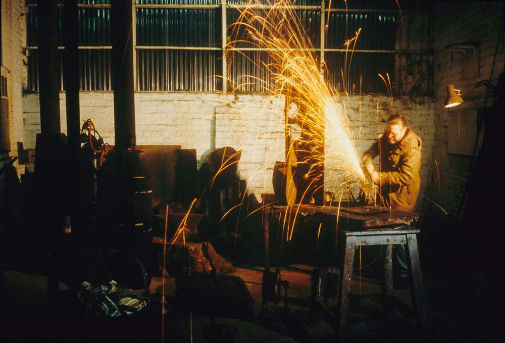 Michael Lyons at work in his Studio