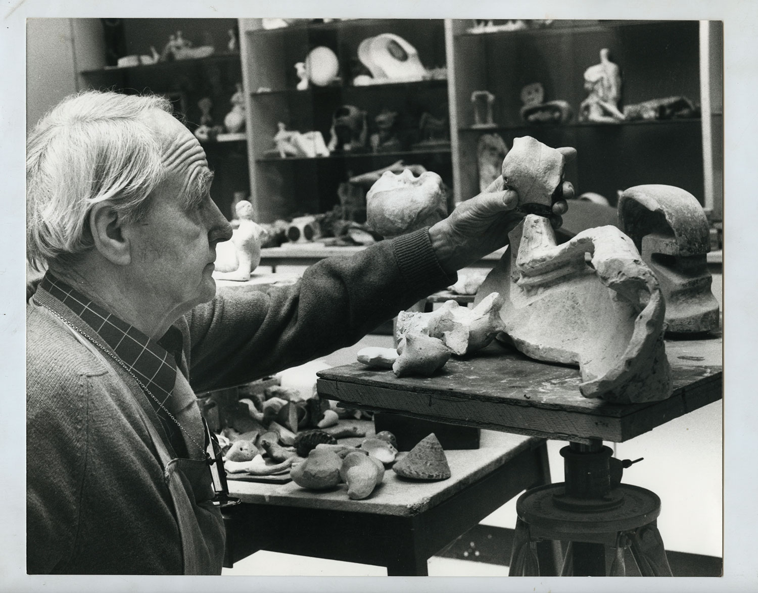 Henry Moore in the Bourne Maquette Studio, 1978. Henry Moore Archive