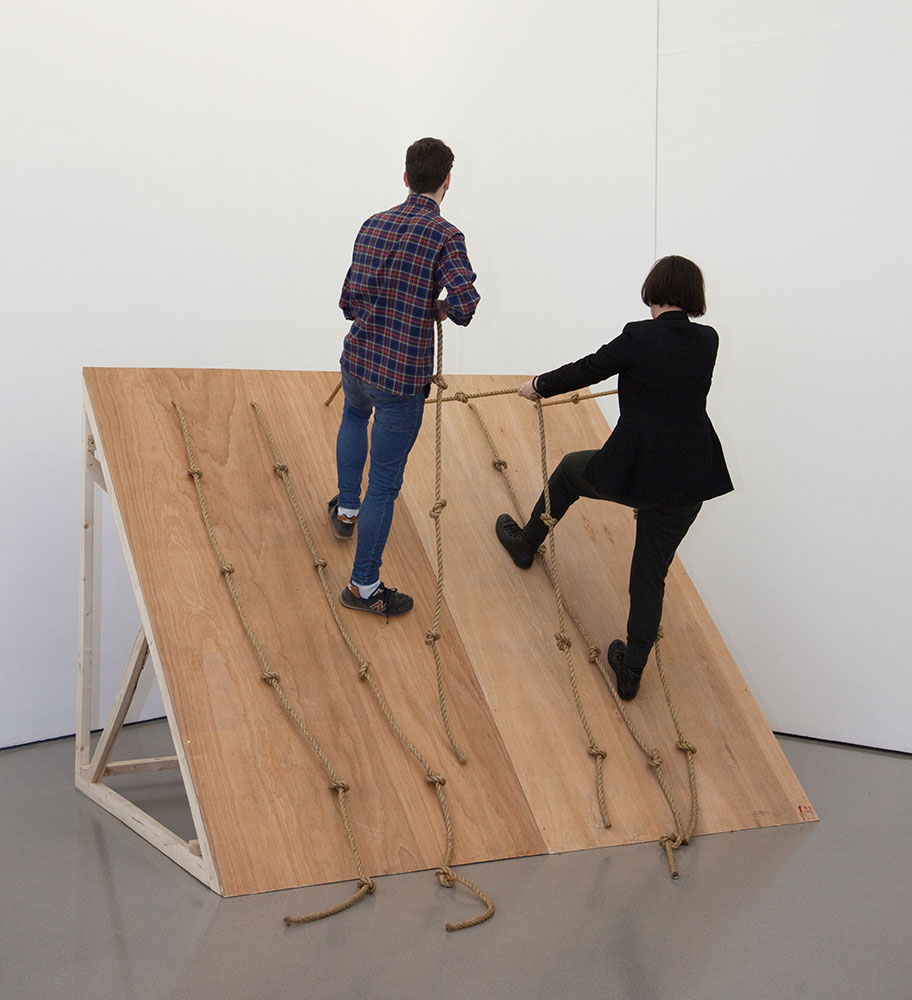 Performance of Simone Forti's 'Slant Board' (2014) inside the Henry Moore Institute (3)