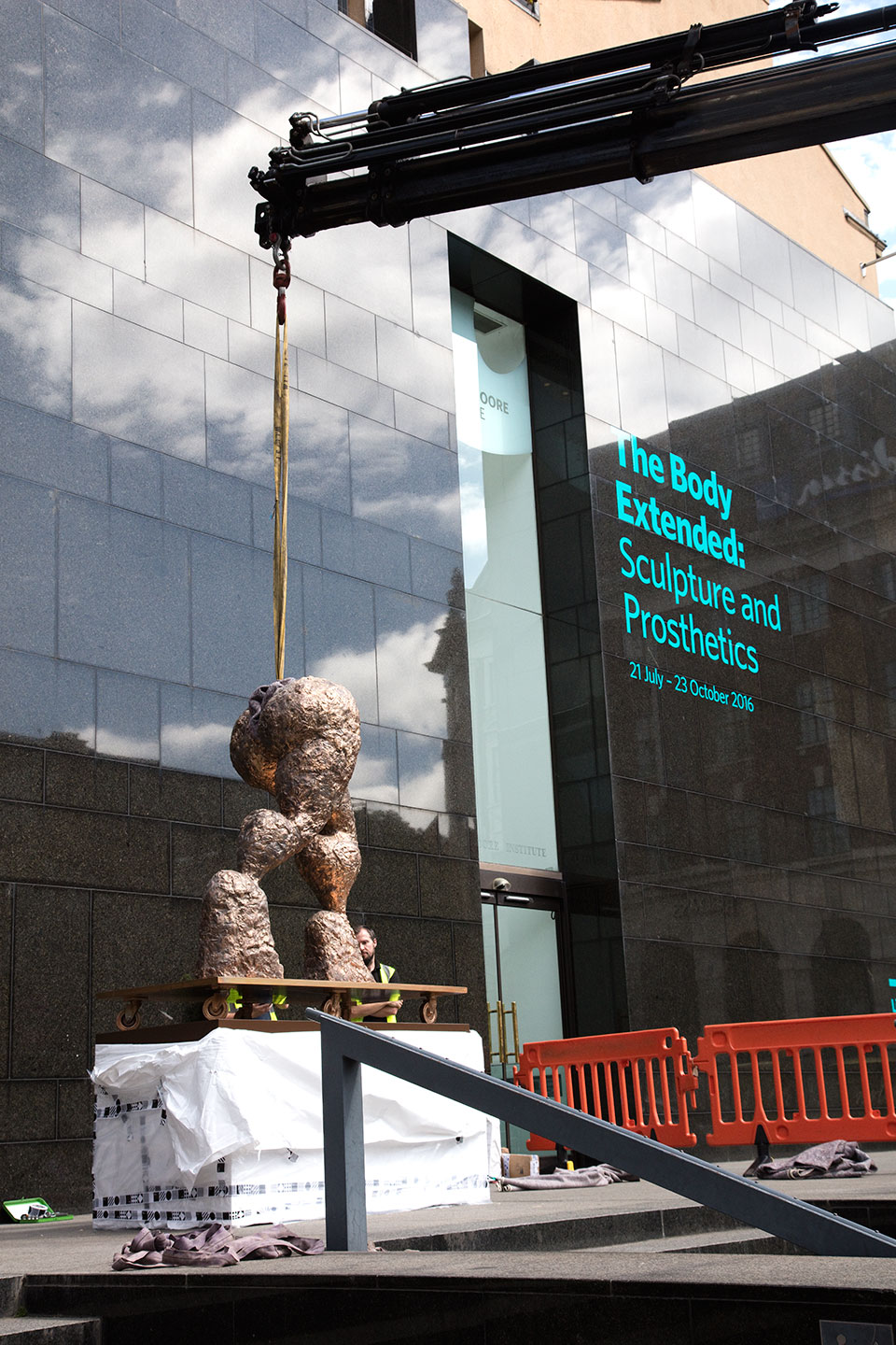Rebecca Warren's work being installed outside the Institute