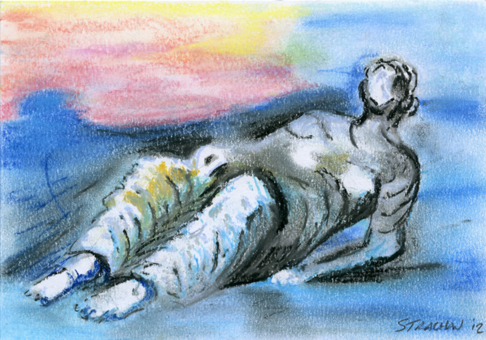A reclining figure drawn by Bryan Stachan