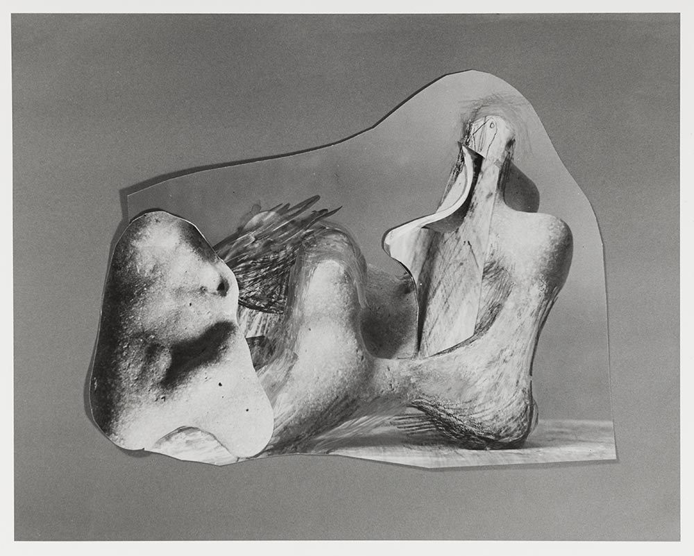Black and white photograph by Errol Jackson of photo-collage arranged by Henry Moore, 1978.