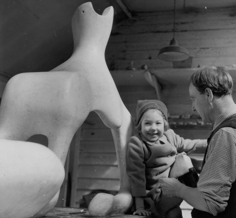 Mary Moore and Henry Moore in the Top Studio at Perry Green, c.1950.