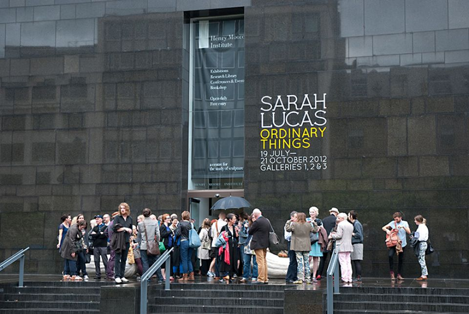 The opening of Sarah Lucas: Ordinary Things at the Henry Moore Institute in 2012