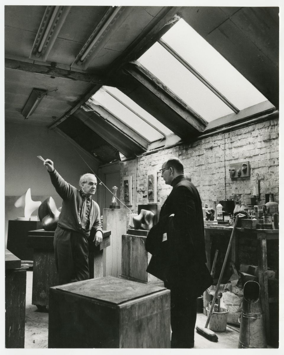 Hermann Noack, on a visit to Perry Green, in the Top Studio with Henry Moore, c.1967