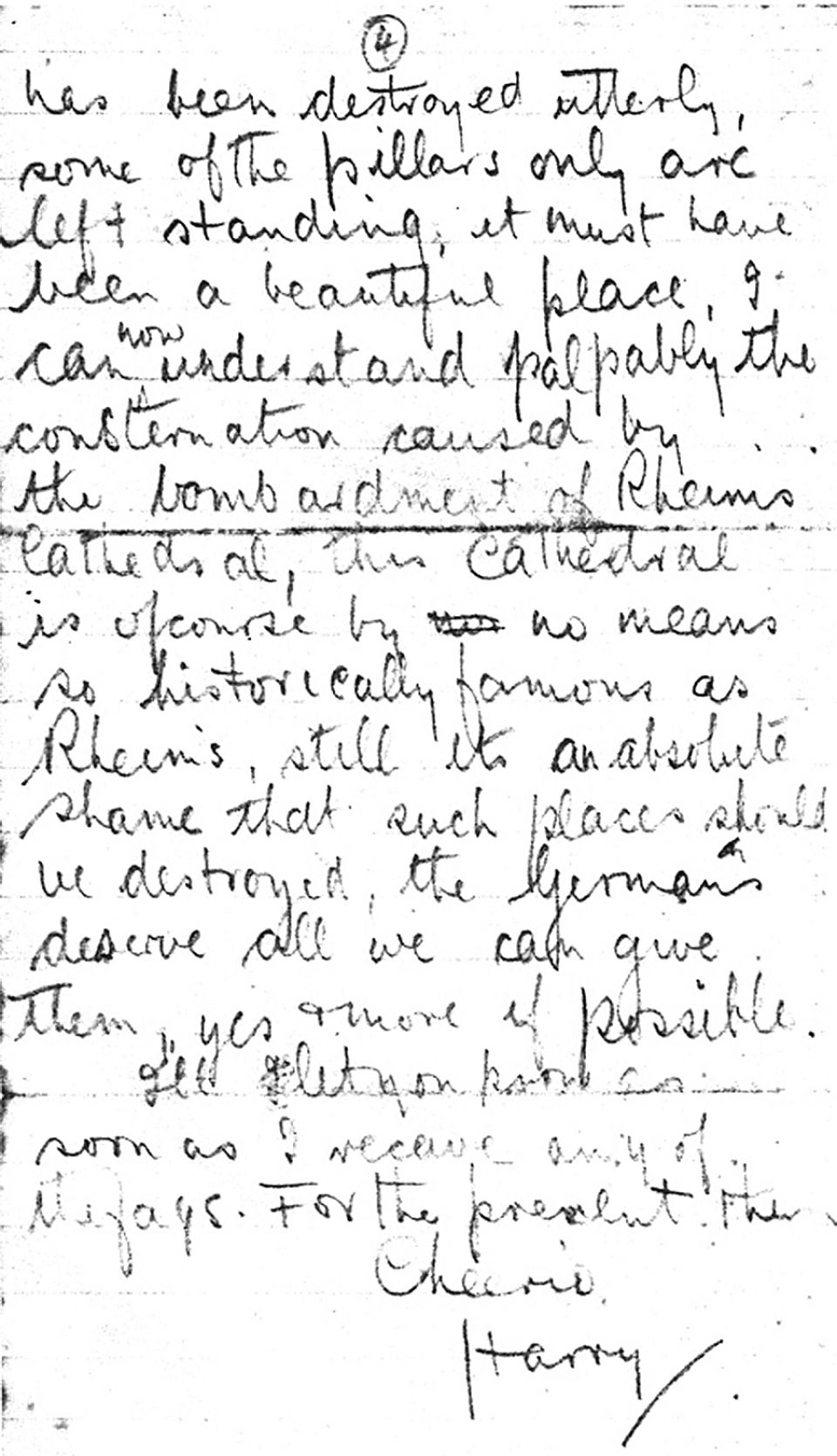 A letter from Henry Moore to his former art teacher, Alice Gostick, Oct 6 1917. Page 4.