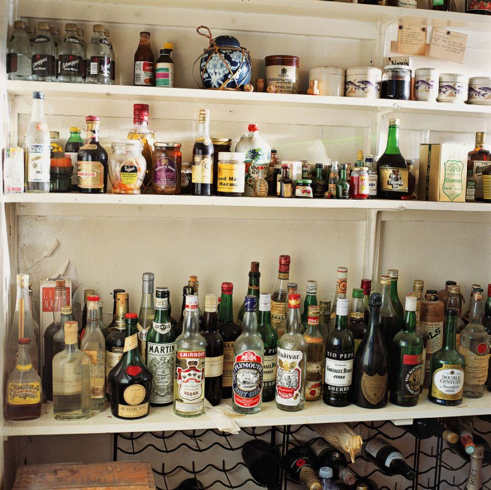 The Pantry at Hoglands - note the barrel of Stilton cheese on the top shelf