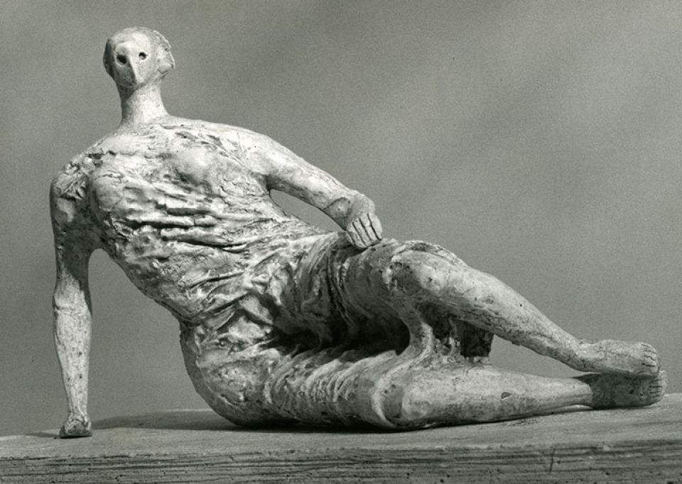 Henry Moore's maquette for Draped Reclining Woman, 1957, plaster