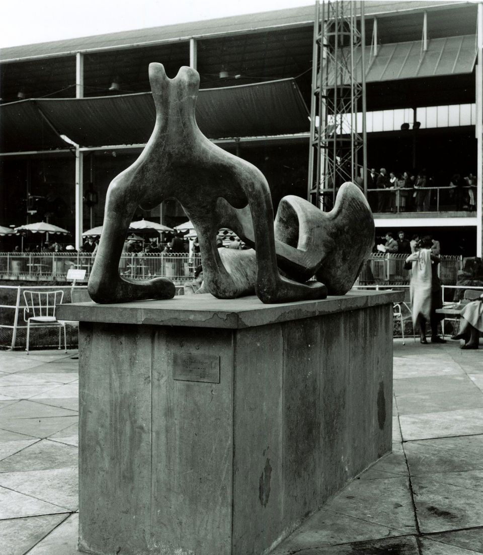 Henry Moore's Reclining Figure: Festival in situ on the South Bank, London, 1951