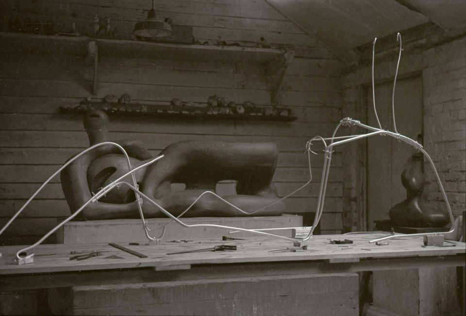 The armature for the large plaster version of the festival piece, inside Moore's Top Studio, at Perry Green