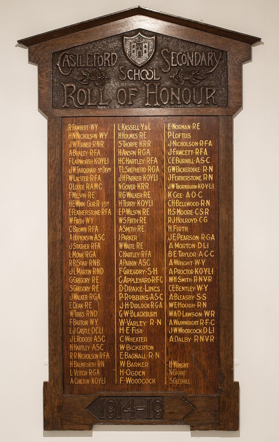 Henry Moore, Castleford Secondary School Roll of Honour c.1916