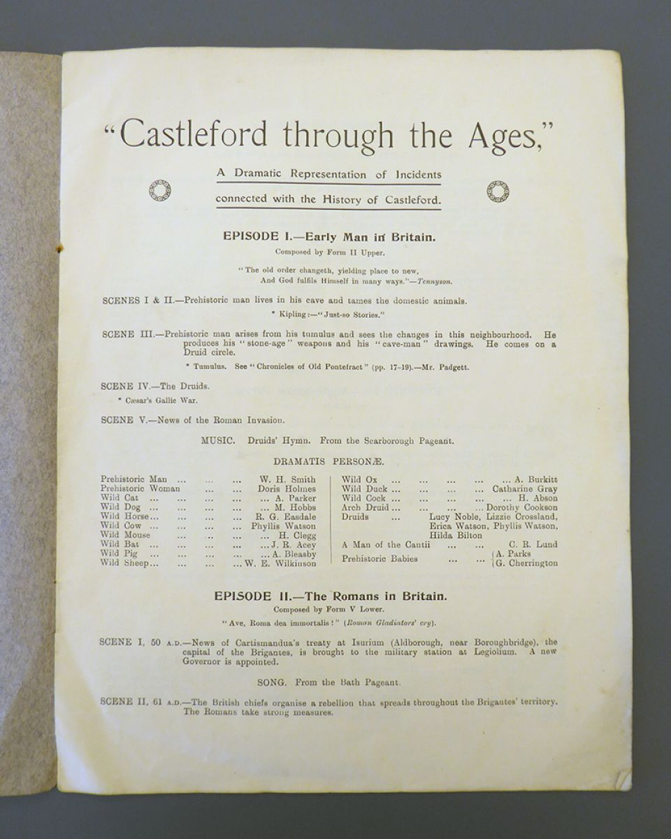 Page 1 of the concert programme, detailing episodes 1 and 2 of