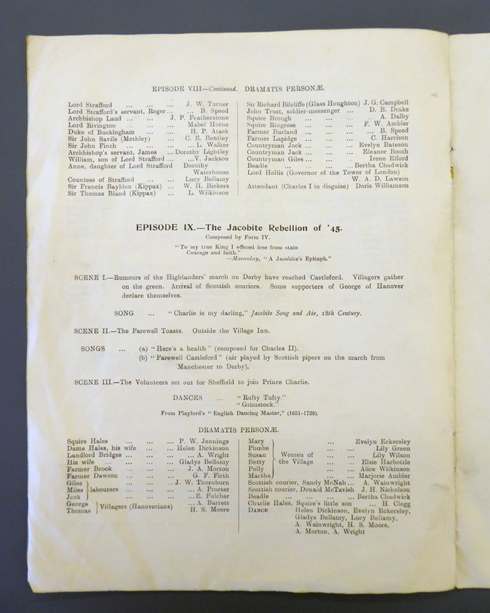 Page 5 of the programme, featuring H.S. Moore as Thomas (a Hanoverian villager)