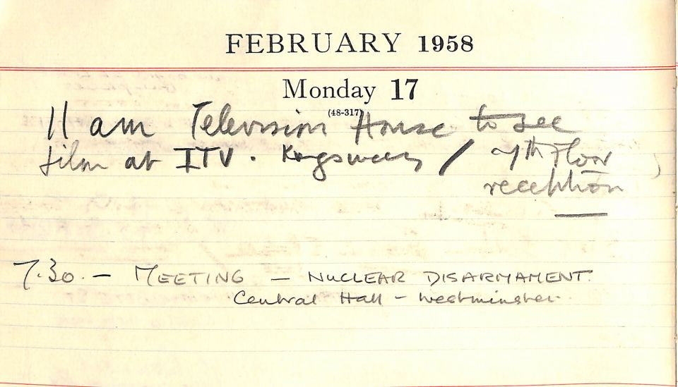 Diary entry for Monday 17 February 1958 showing Moore's attendance of a CND meeting in Westminster.