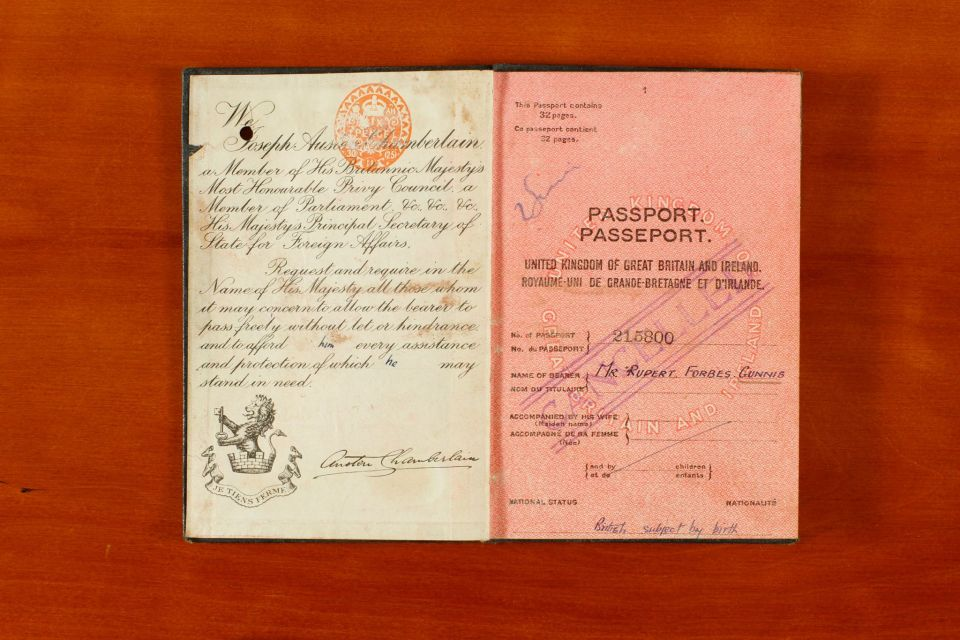 Passport belonging to Rupert Gunnis