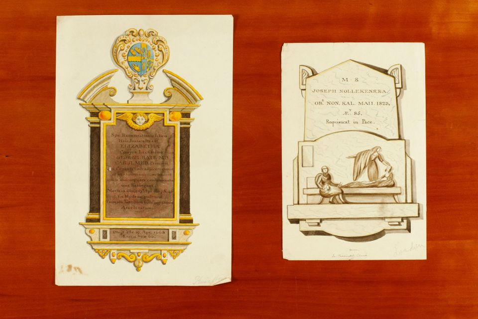 Two drawings of memorial plaques, possibly by Rupert Gunnis