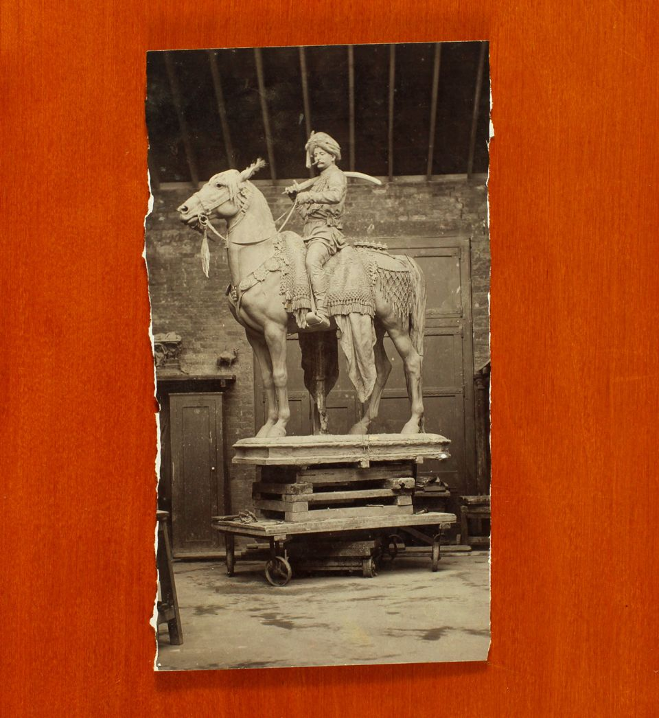 Photograph of Onslow Ford's 'Maharajah of Mysore' taken in his studio