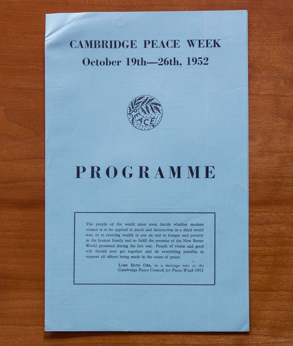 Cambridge Peace Week programme (1952)