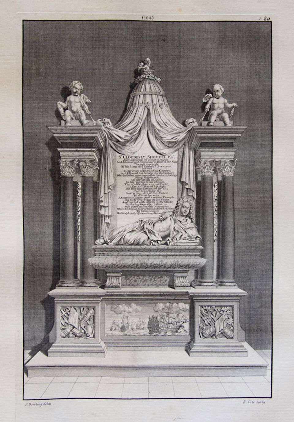 Sir Cloudesly Shovell's monument, designed and executed by Grinling Gibbons in the South Choir Aisle of Westminster Abbey (c. 1707)