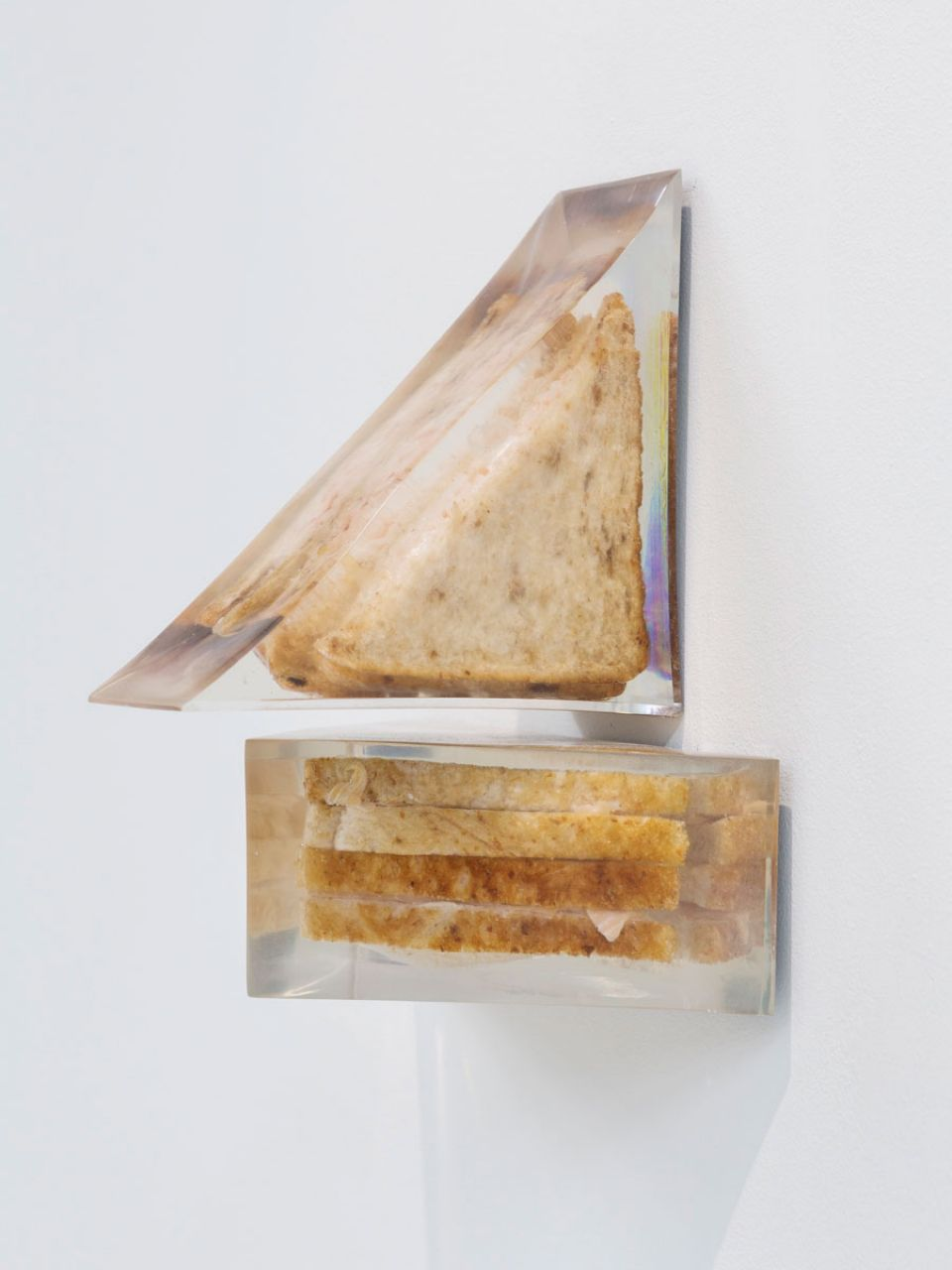Alex Frost, Smoked Salmon and Soft Cream Cheese on BrownBread, No Mayo (Waitrose)/ Prawn Mayonnaise on Brown Bread (Tesco), 2017, ClearCast polyester resin, sandwiches and mirrored acrylic sheet