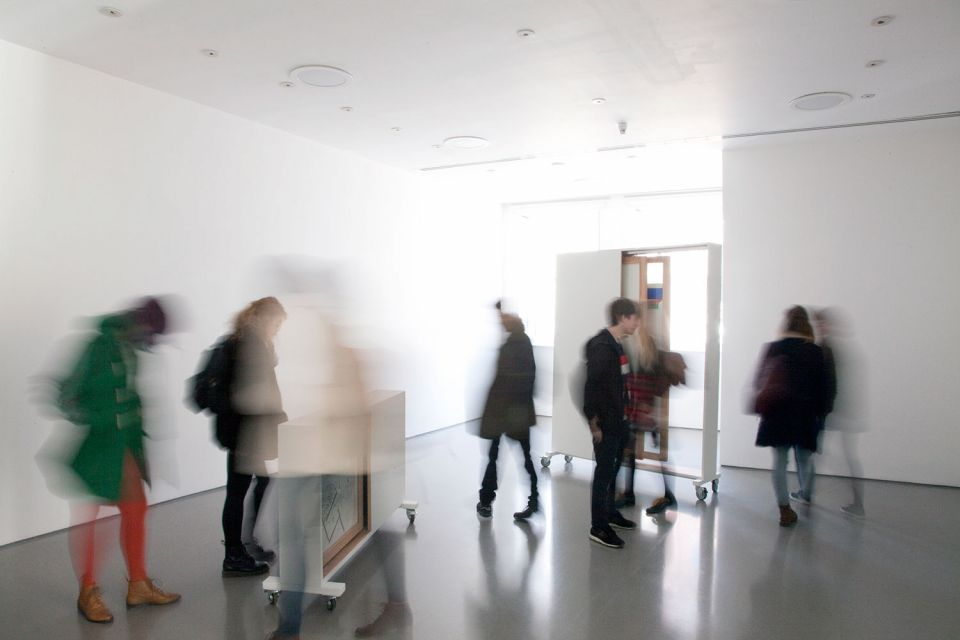 Installation view of Gallery 1, showing Maria Nordman's 'Standing Pictures'