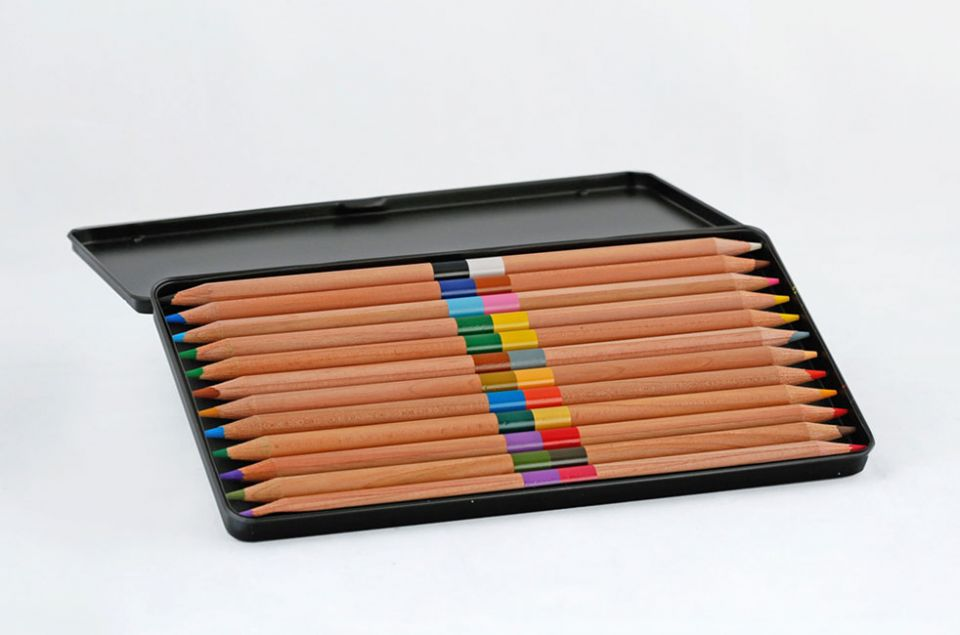 Four Leaf Pencil Tin: open to show contents