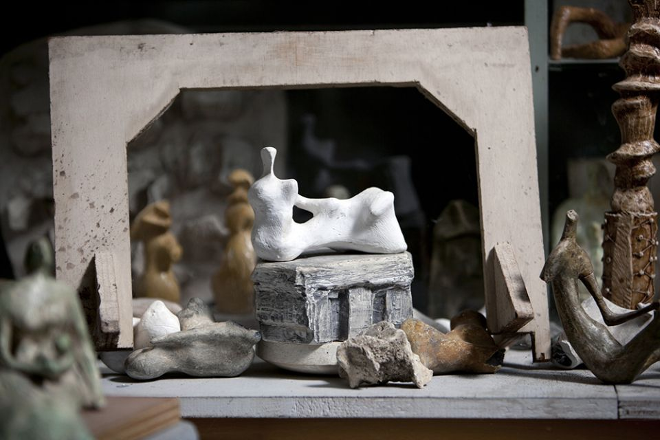 A detail photo of maquette models in Henry Moore's Bourne Maquette Studios