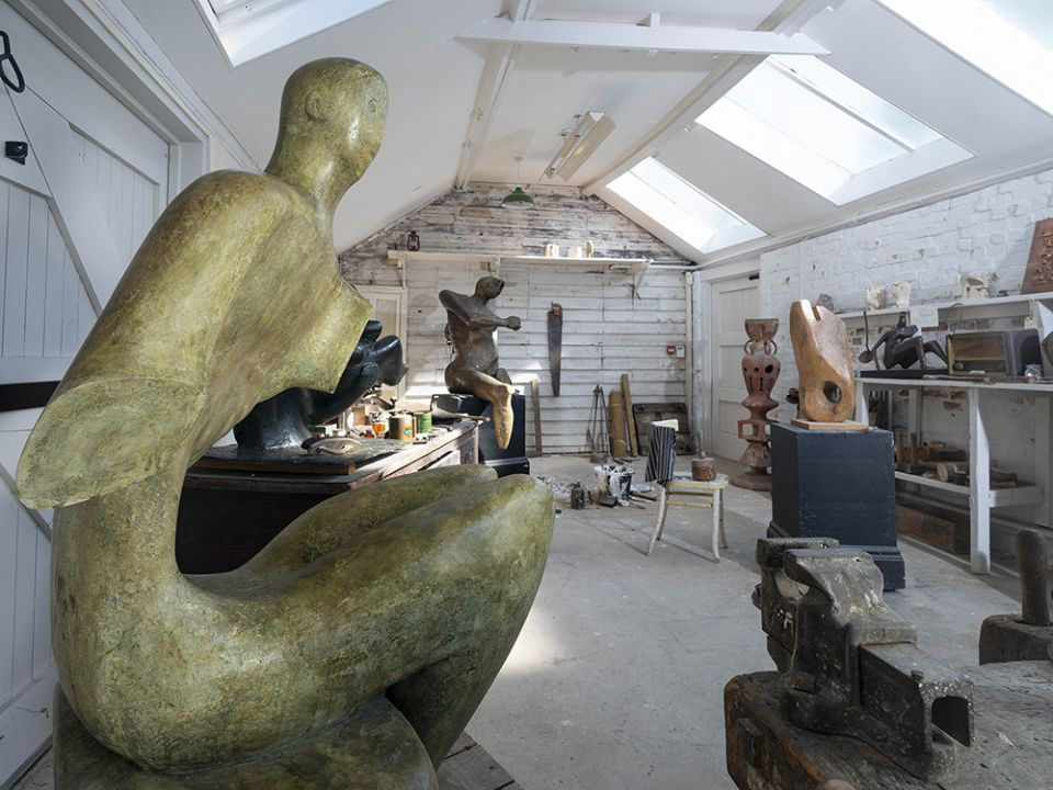 Henry Moore's Top Studio, showing plaster working models and sculpting tools