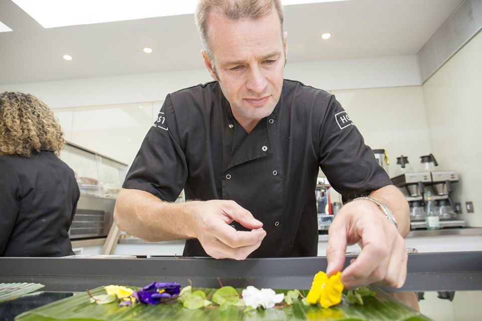 Simon from Host Catering puts the finishing touches to a canape plate