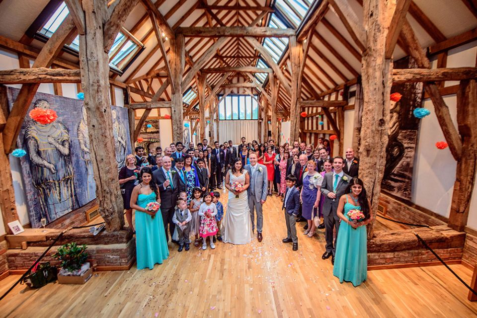 Wedding guests in the Aisled Barn