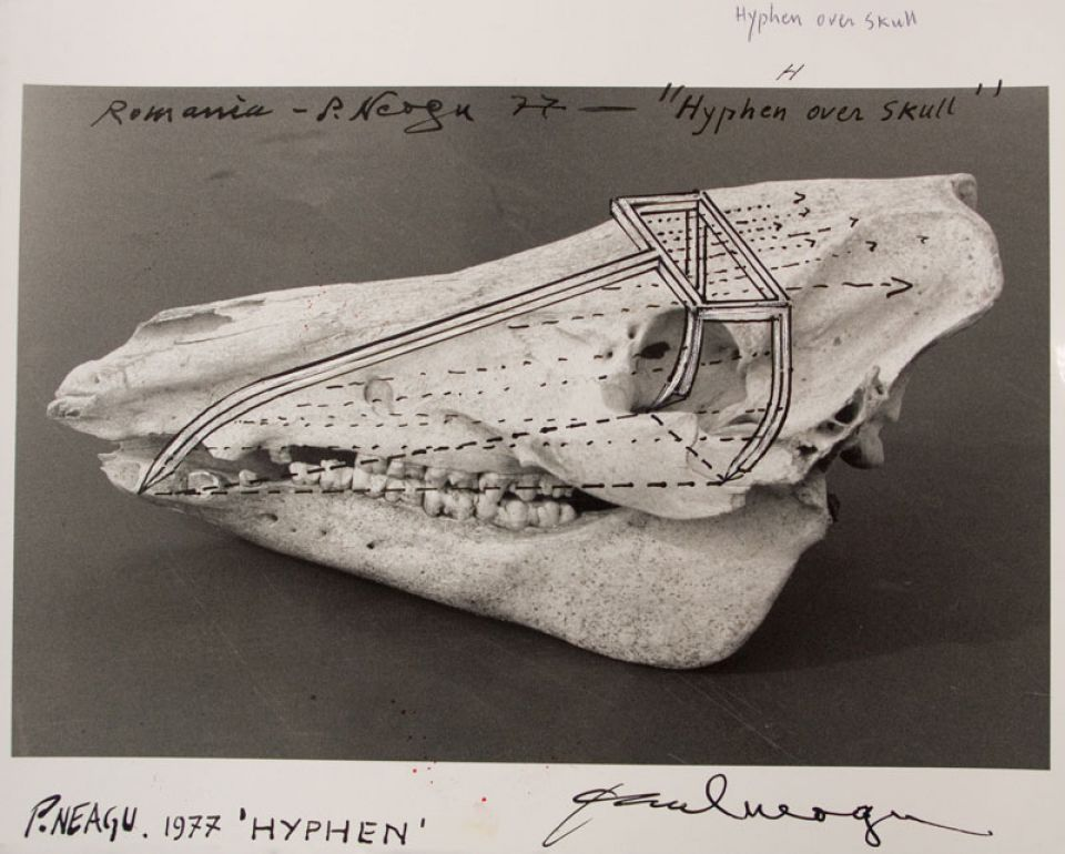 Paul Neagu, 'Hyphen over Skull' (1977, ink on photograph)