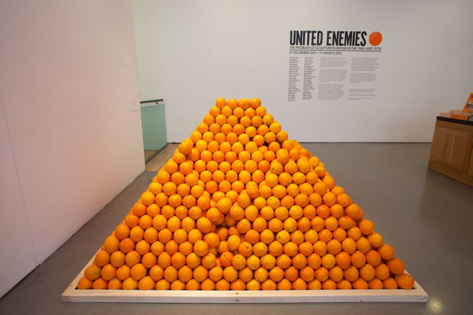 Installation view of Reception, showing: Roelof Louw, 'Pyramid of Oranges / Soul City' (1967)