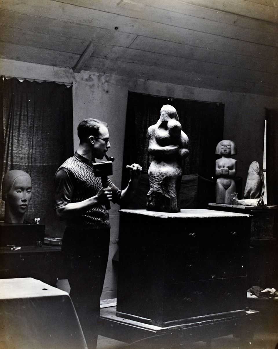 Trevor Tennant at work in his studio, 1930s