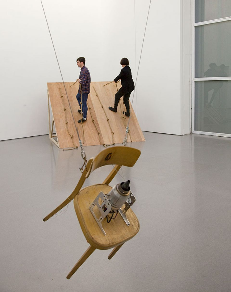 Performance of Simone Forti's 'Slant Board' (2014) inside the Henry Moore Institute (4)