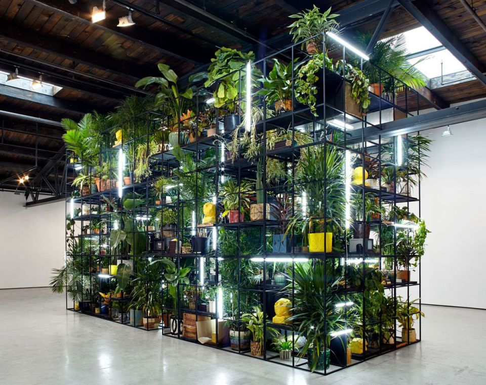 Rashid Johnson, Antoine's Organ 2016, black steel, grow lights, plants, wood, shea butter, books, monitors, rugs, piano