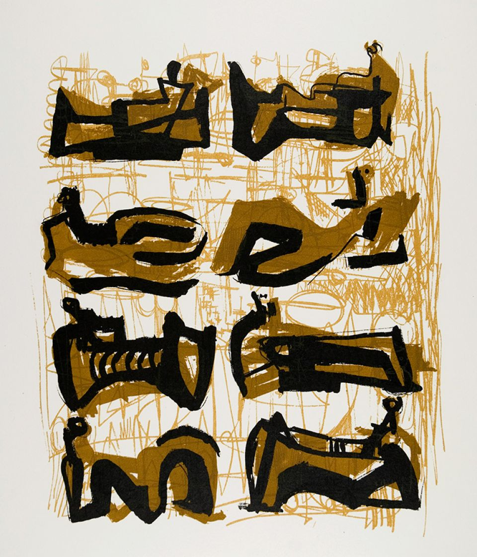 Henry Moore, 'Eight Reclining Figures' 1958. The first lithograph Moore printed with The Curwen Press