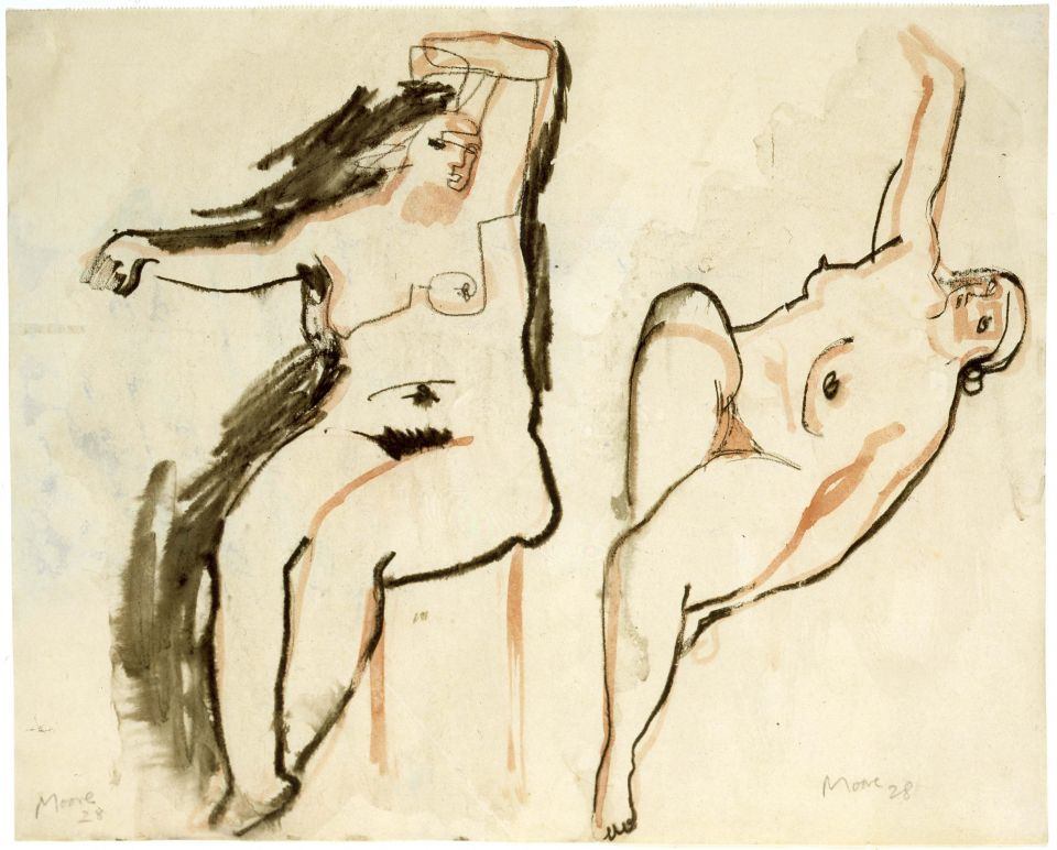 Henry Moore, 'Two Studies of a Female Nude' c.1928