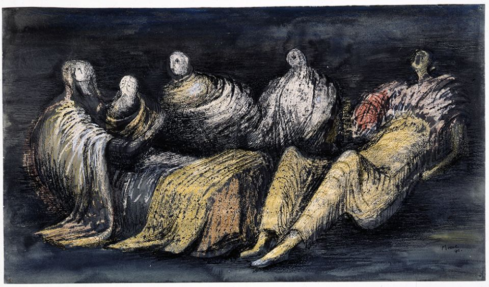 Henry Moore, 'Group of Draped Figures in a Shelter' 1941