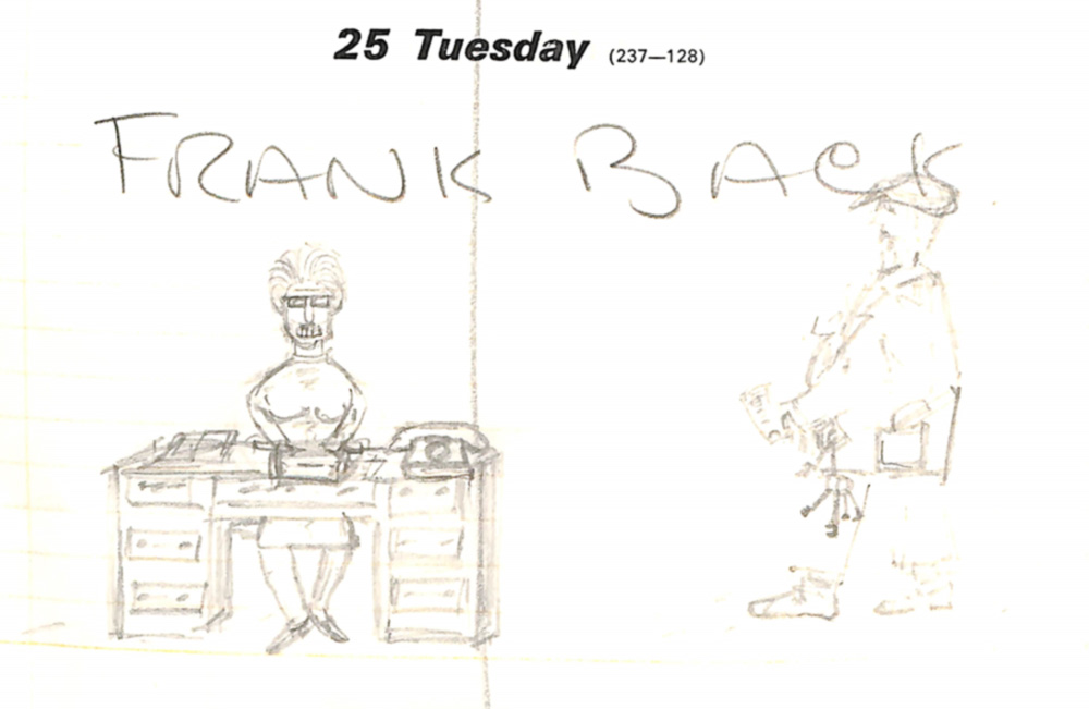 An amusing sketch drawn by one of Moore's assistants of Mrs Tinsley at her desk in the 1970 Hoglands office diary.