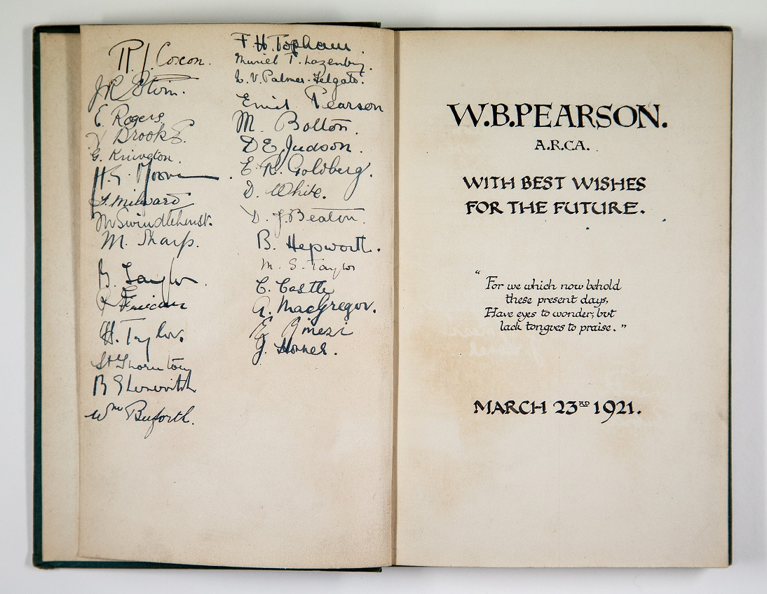 Inside front cover of the John Masefield book 'Right Royal', signed by W.B.Pearson's students including Henry Moore and Barbara Hepworth