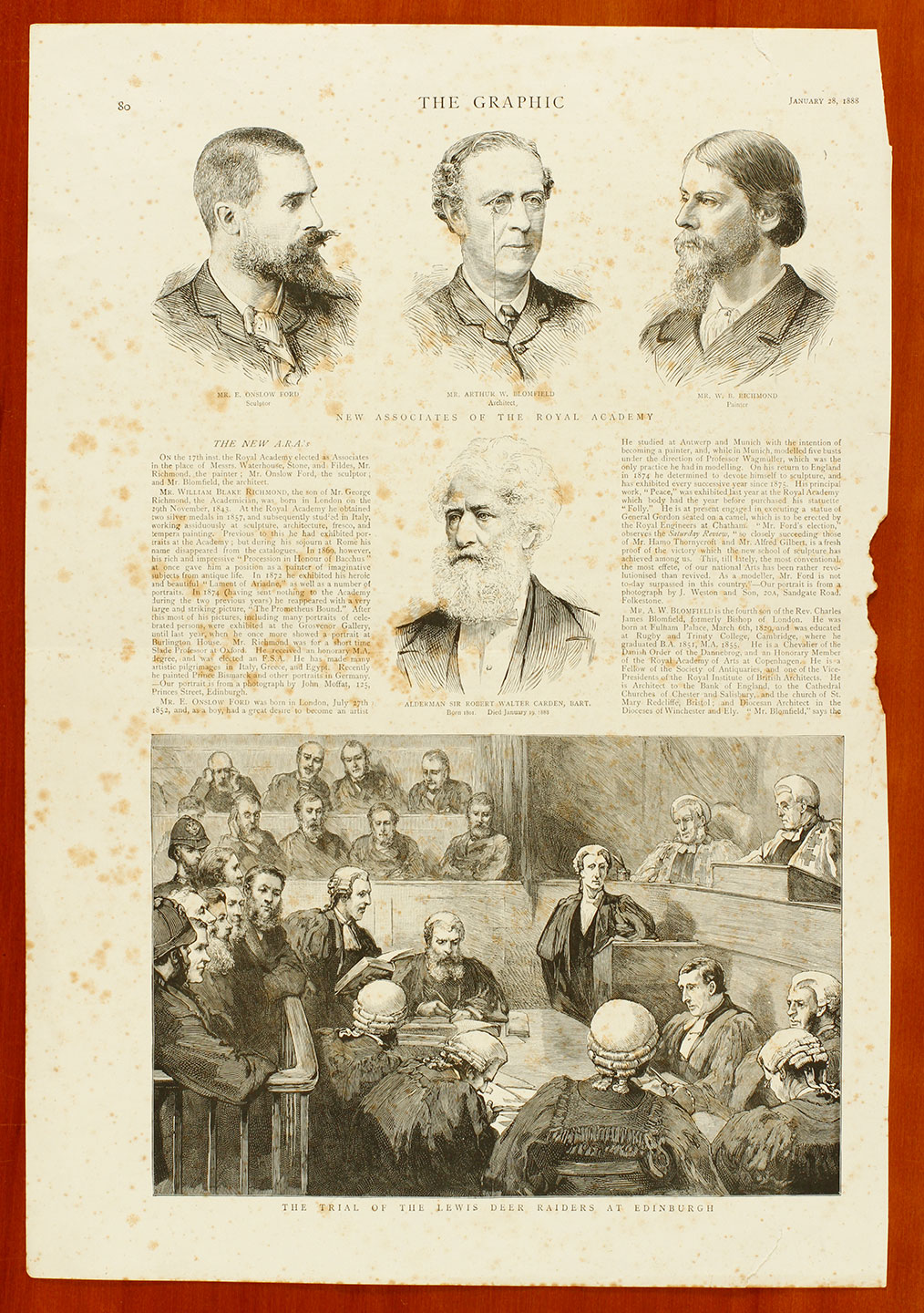 'The Graphic', 28th January 1888, showing New Associates of the Royal Academy