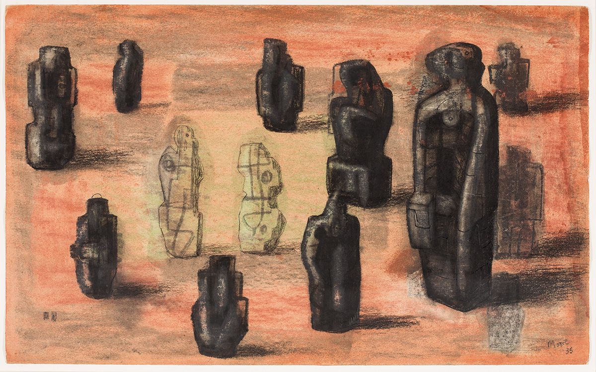 Henry Moore, 'Stone Figures in a Landscape Setting' 1935 drawing (HMF 1163)