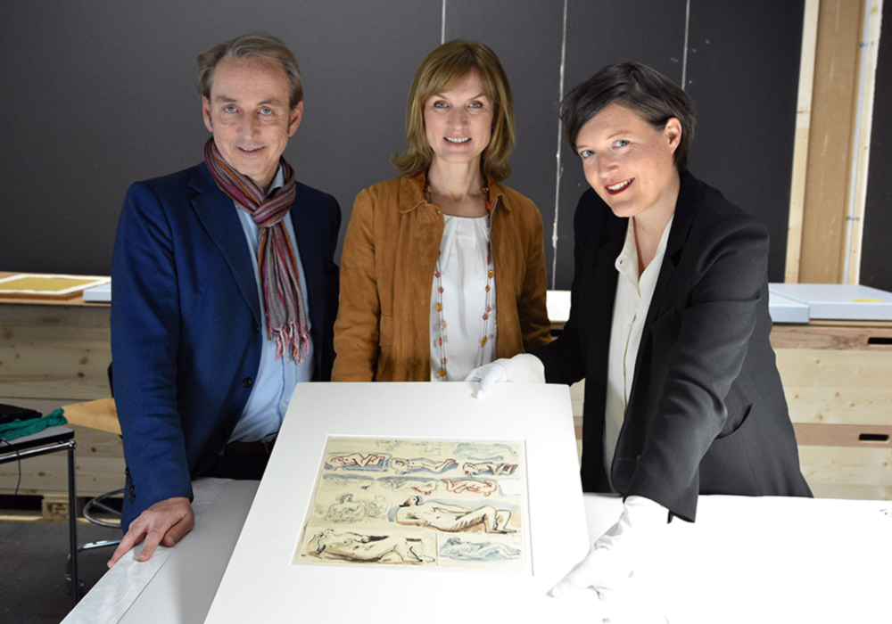 The Fake or Fortune team with the Henry Moore watercolour