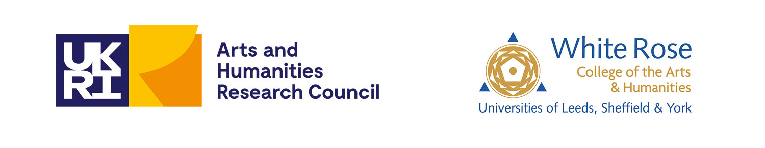 Logos for the Arts and Humanities Research Council; White Rose College of the Arts & Humanities, Universities of Leeds Sheffield & York.
