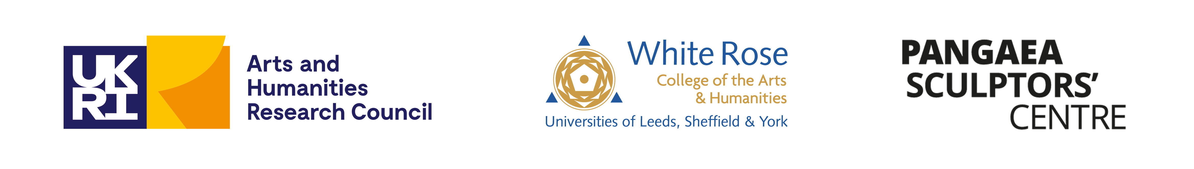 Logos for the Arts and Humanities Research Council; White Rose College of the Arts & Humanities, Universities of Leeds Sheffield & York; Pangaea Sculptors' Centre.