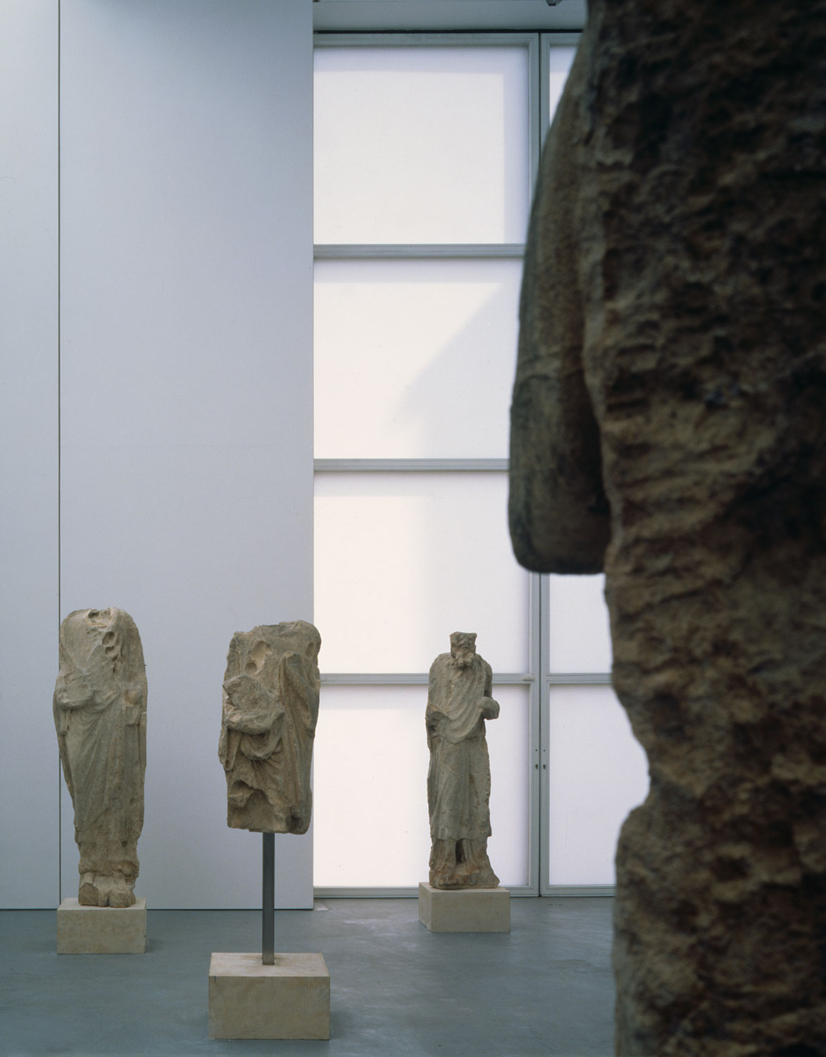 Installation view of Romanesque: Stone Sculpture from Medieval England
